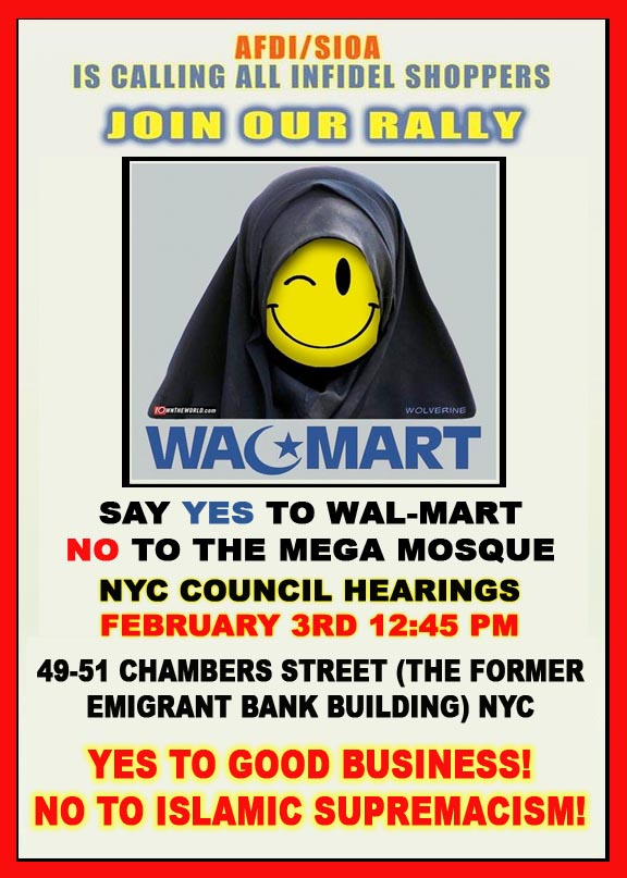 PROTEST THE GROUND ZERO MOSQUE FEBRUARY 3RD NYC